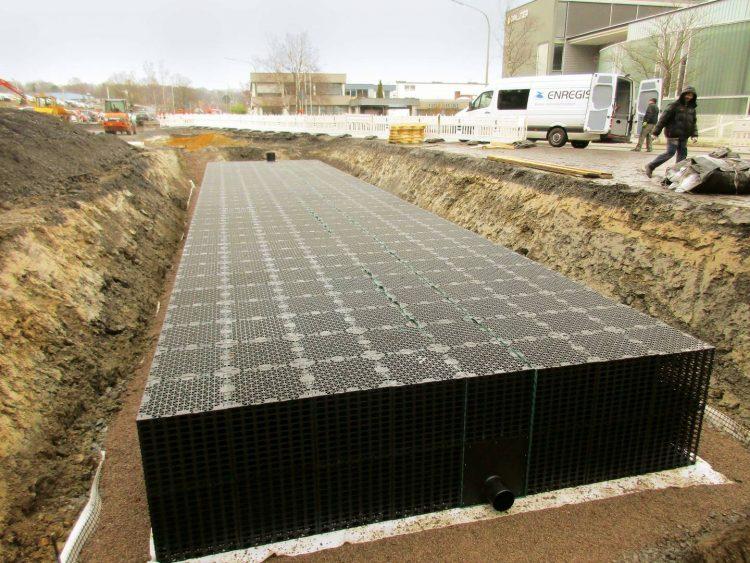 Ansicht eines Untergrundes mit einer Regenwasserbehandlungstechnik