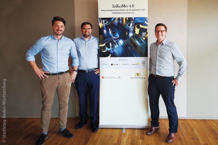 Die Geschäftsstelle InKoMo 4.0 führt verschiedenste Aktivitäten durch, um Innovationspartnerschaften für Kommunen und Mobilitätswirtschaft in Baden-Württemberg aufzubauen und zu begleiten. Die drei Ansprechpartner helfen gerne weiter (von links): Benedikt Sedlmayr, Konstantin Schneider und Jan Blömacher.