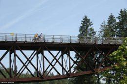 Radeln über das Klausenbach-Viadukt auf dem Bähnle-Radweg zwischen Lenzkirch und Bonndorf.