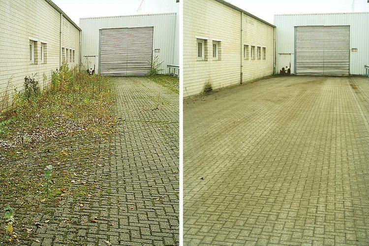 Ein Innenhof – vor und nach der Reinigung mit Kehrwalzen, an die Wildkrautbürsten aus Stahl montiert wurden.
