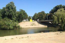 """BUGA-Baustelle: ungefähre Position der """"Capella"""" (eingezeichnetes gelbes Haus-Symbol) am Neckarufer auf dem BUGA-Gelände"""