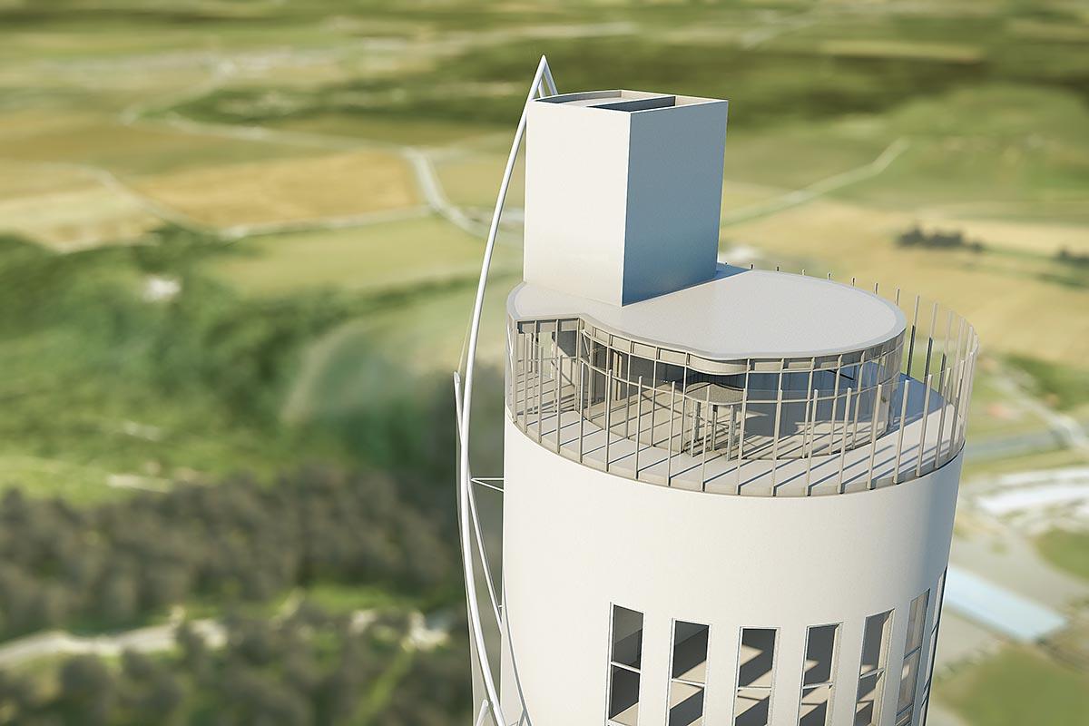 Die Aussichtsplattform des Testturms ist mit 232 Metern Höhe deutschlandweit die höchstgelegene.