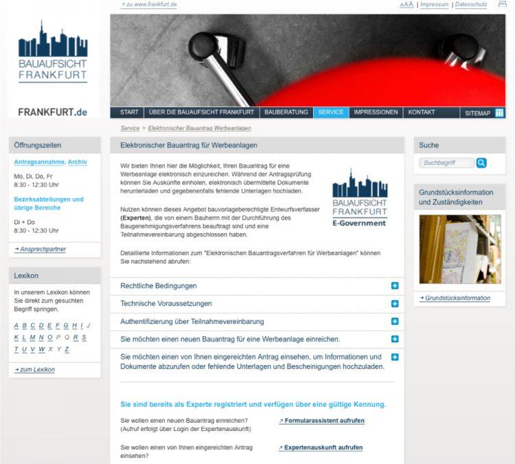Screenshot von der elektronischen Bauantragstellung der Stadt Frankfurt am Main