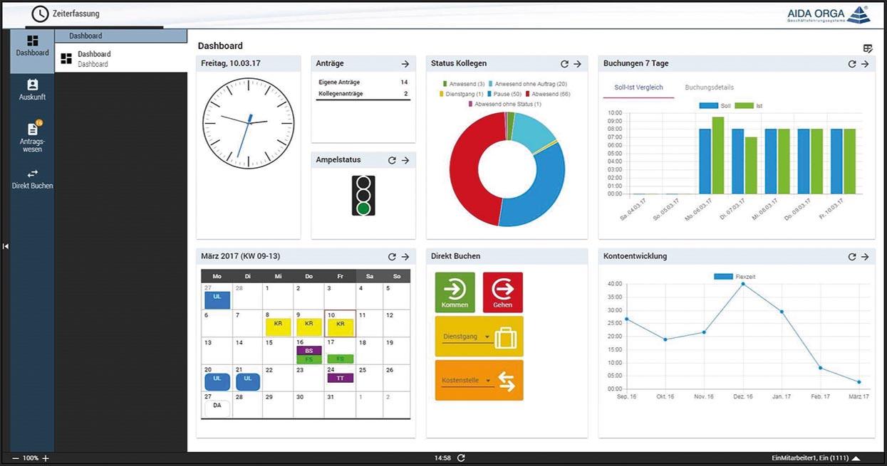 Zeiterfassungssoftware gehört zur Produktpalette von AIDA ORGA.