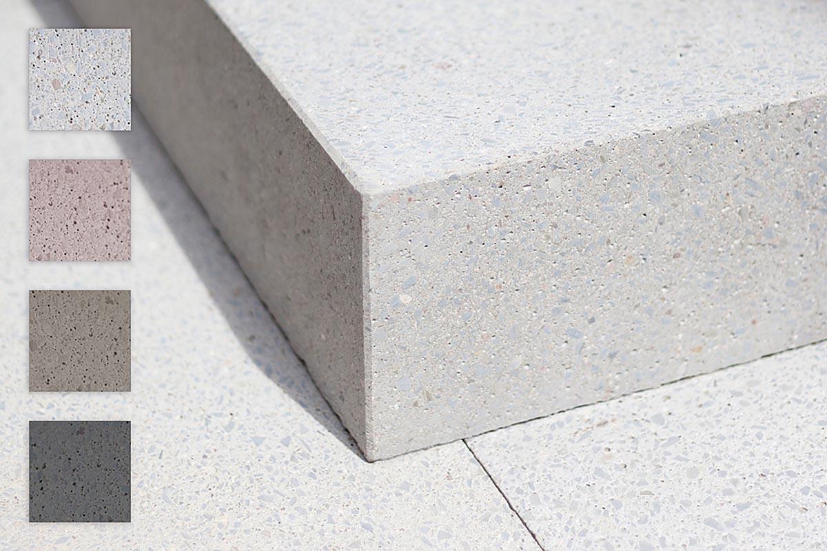 Das Betonprodukt grantum gibt es in vier Farben und fünf hochwertigen Oberflächenstrukturen. Damit lassen sich für jeden Einsatzort die passenden Stufen konfigurieren.
