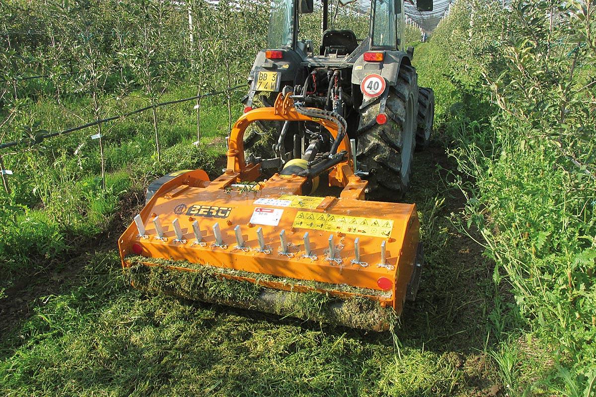 Eine weitere Neuheit ist das Modell BF/S, ein Mulchgerät für Wein- und Obstgärten für Traktoren mit 40 bis 80 PS, das zum Mulchen von Gras und Reisig und dank des niedrigen Rahmenbaus hauptsächlich für niedrige Pflanzen ideal ist.