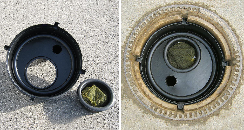 Aktivkohlefilter AFIP370, eingebaut mit Korb und Füllung