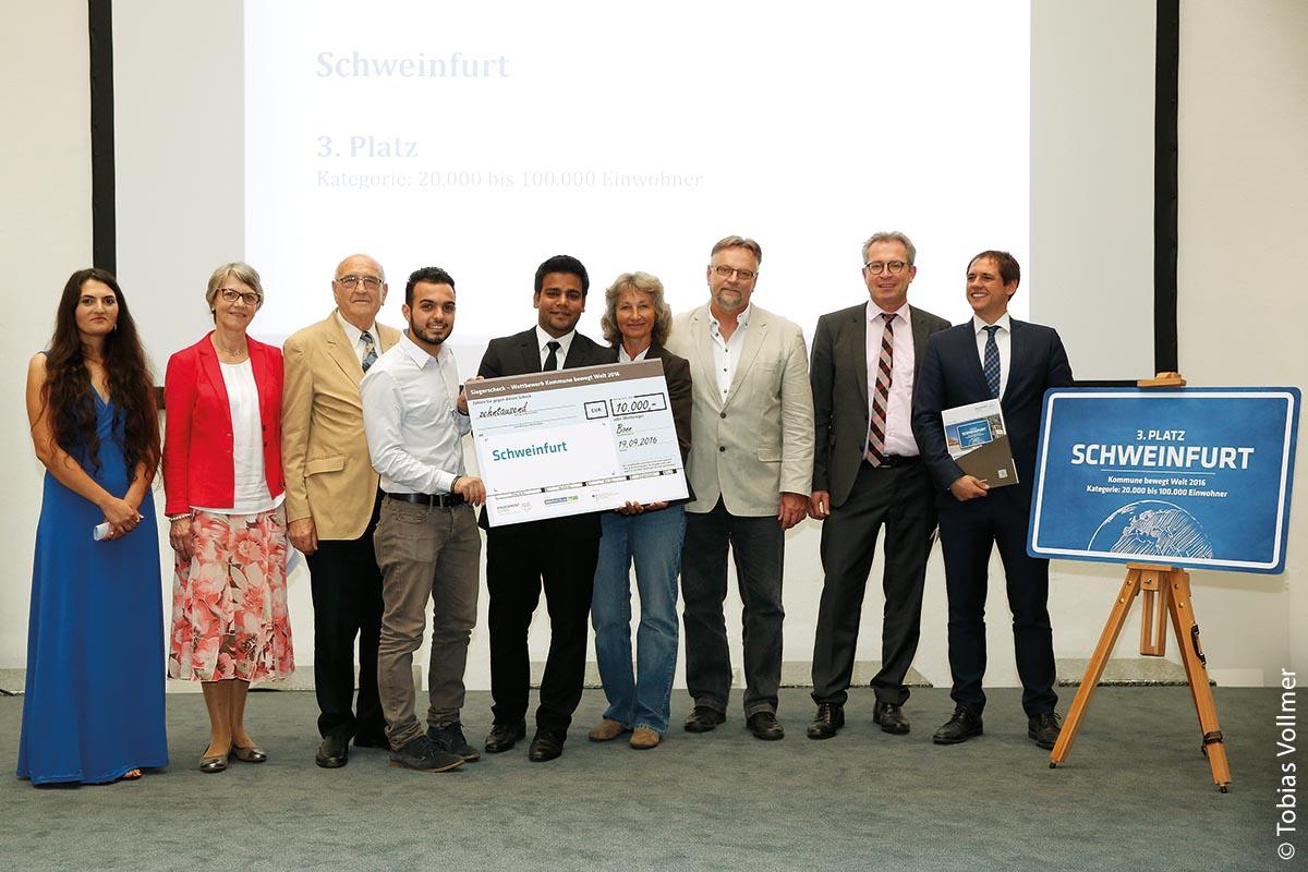 Den dritten Platz belegte Schweinfurt 2016 in der Kategorie 20.000 bis 100.000 Einwohner und Ehingen gewann 2014 einen Sonderpreis