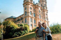 Die barocke Wallfahrtskirche Vierzehnheiligen ist eine der weiteren Attraktionen in Bad Staffelstein.