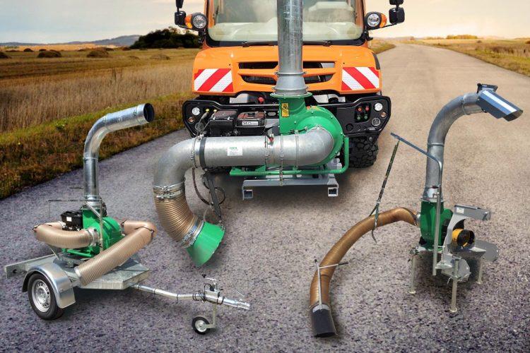 Die Serie der Laubentsorgungsgeräte von HEN umfasst unter anderem das HEN S 400 F (Mitte hinten), das HEN S 400 A (links) und das HEN T 400 (rechts).