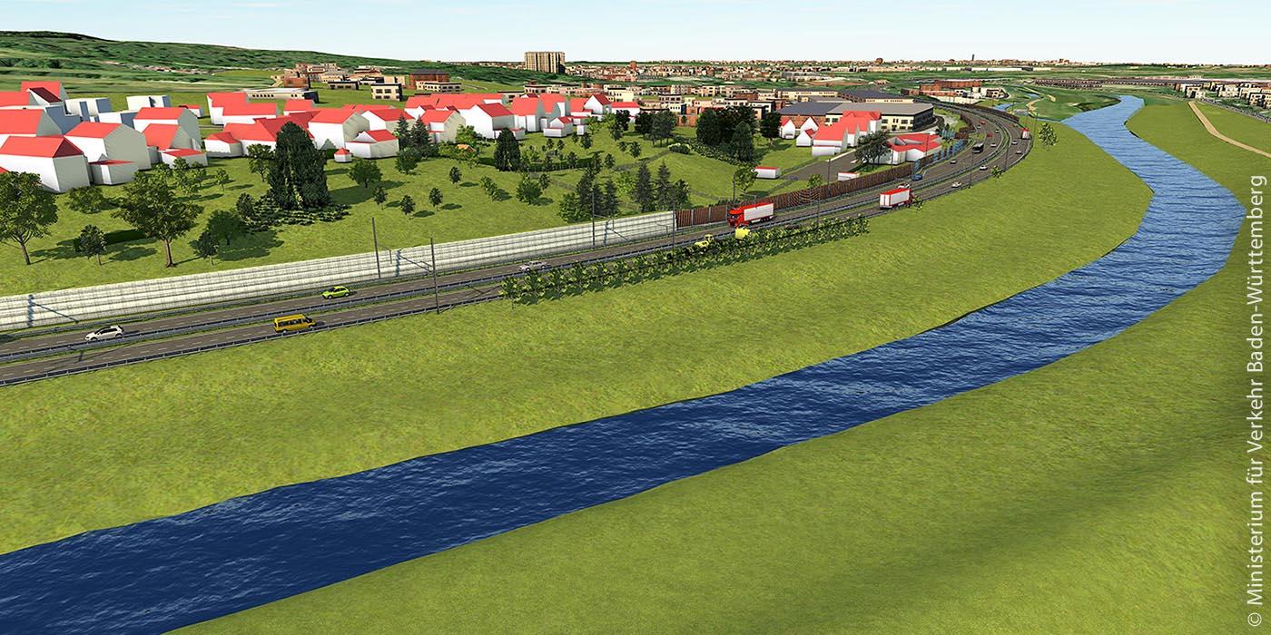 Virtuelle Ansicht der geplanten LKW-Oberleitung auf der B 462 im Murgtal zwischen Gernsbach-Obertsrot und Kuppenheim