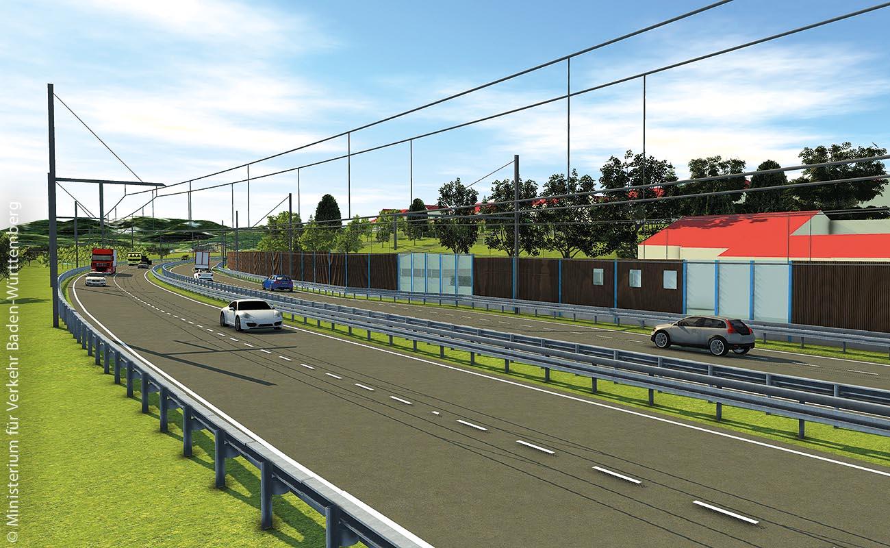 Im Rahmen von eWayBW soll auf der B 462, im Murgtal zwischen Gernsbach-Obertsrot und Kuppenheim, bis Ende 2019 eine Teststrecke für elektrisch betriebene Hybrid-Oberleitungs-Lkw entstehen.