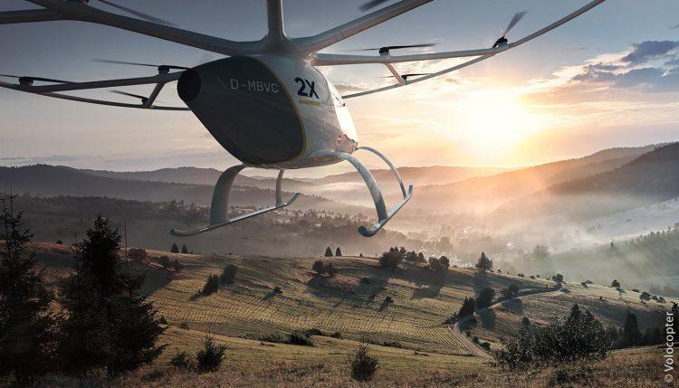 Lufttaxi: In Gegenden, wo Automobile nicht mehr hin- oder weiterkommen, haben Volocopter Zukunft – und das völlig emissionsfrei.