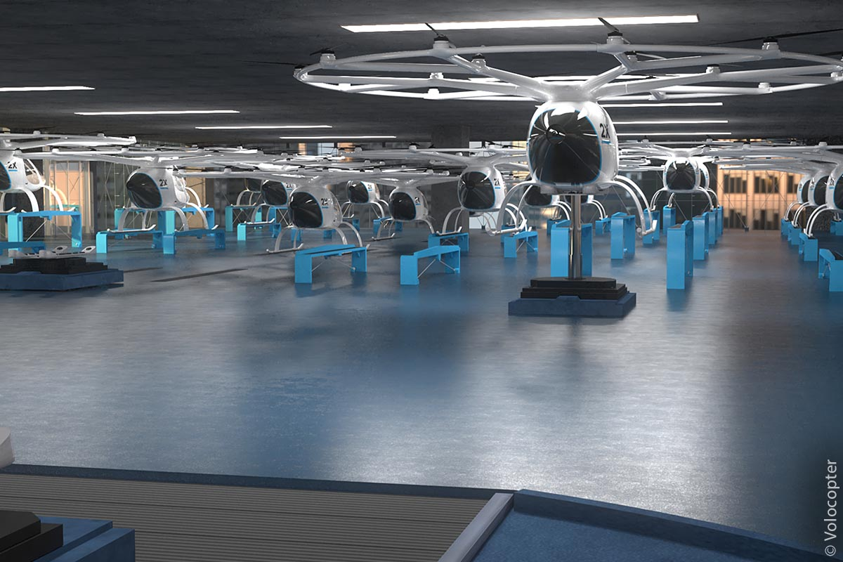 Parkhalle für Volocopter