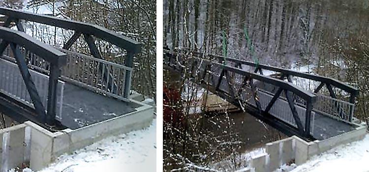 Da die Tal-Brücke in Neckarzimmern im Winter häufig im Schatten liegt, wurde sie mit einer beheizbaren Lauffläche ausgestattet. Die Rutschgefahr wird auf diese Weise minimiert.