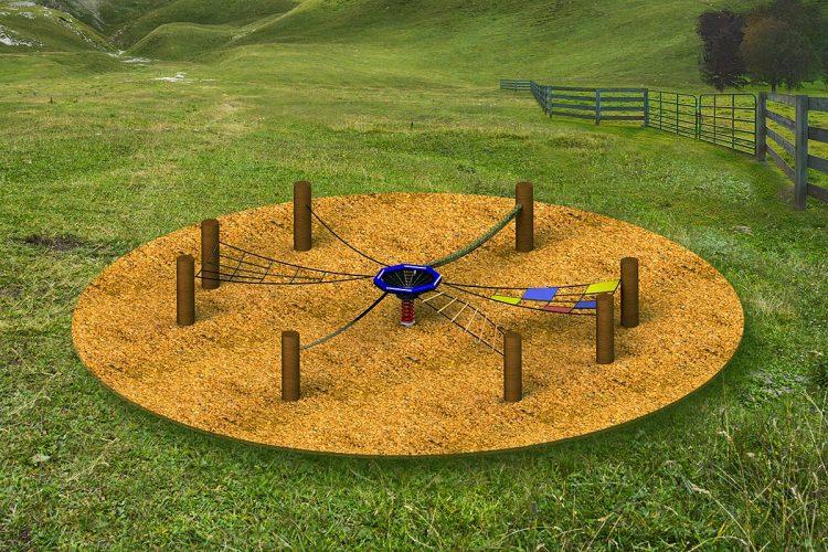 """Im """"Meeting Circle"""" werden Bewegung und Geschick mit Kommunikation, Lümmeln und Chillen vereint. Deshalb ist das Spielgerät von Hally Gally ein starker Anziehungspunkt für Groß und Klein."""