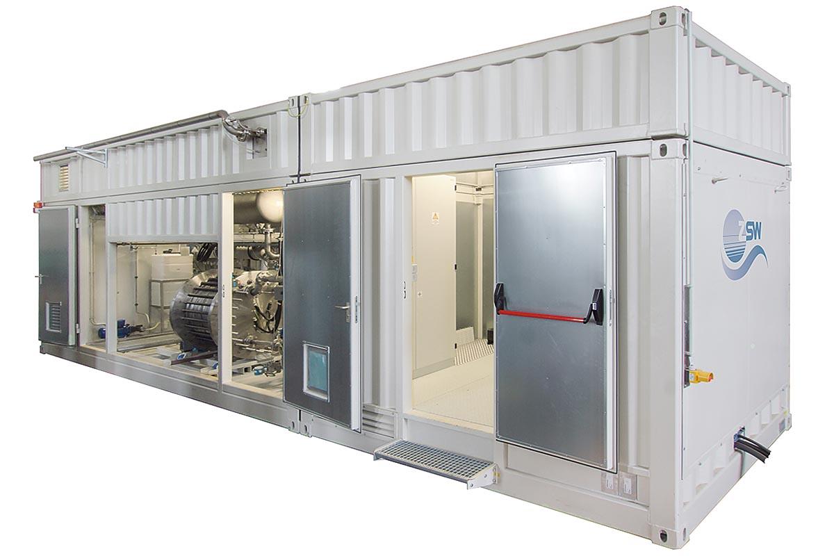 Innenleben einer Elektrolyse-Forschungsanlage (F&E-Anlage) des ZSW