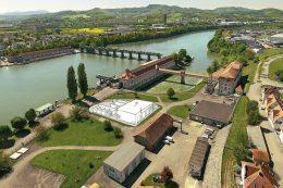 Illustration zum Standort der Power-to-Gas-Anlage am Wasserkraftwerk Wyhlen (Landkreis Lörrach)