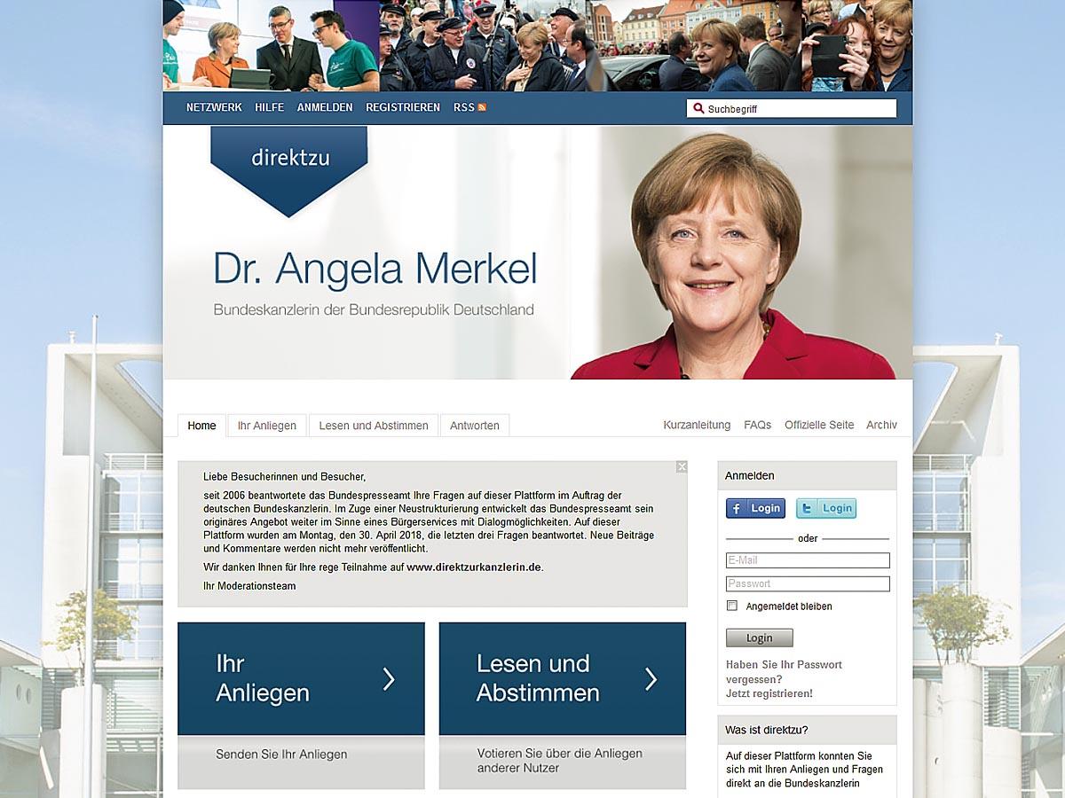 Seit 2006 beantwortete das Bundespresseamt auf der direktzu-Plattform der Bundeskanzlerin Angela Merkel jede Woche die wichtigsten Anliegen interessierter Bürger.