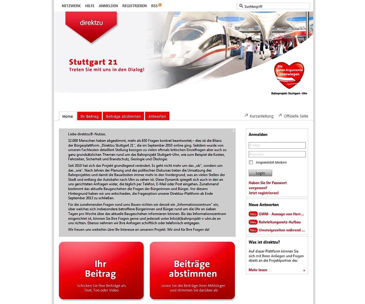 """32.000 Menschen haben abgestimmt, mehr als 650 Fragen konkret beantwortet – dies ist die Bilanz der Bürgerplattform """"Direktzu Stuttgart 21"""", die im September 2010 online ging."""