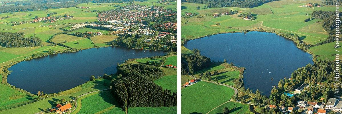 Aus der Luft ist kaum auszumachen, wie hoch der Phosphorwert des Obersees in Kißlegg inzwischen wieder liegt und wie dringend der See erneut professionelle Hilfe benötigt.