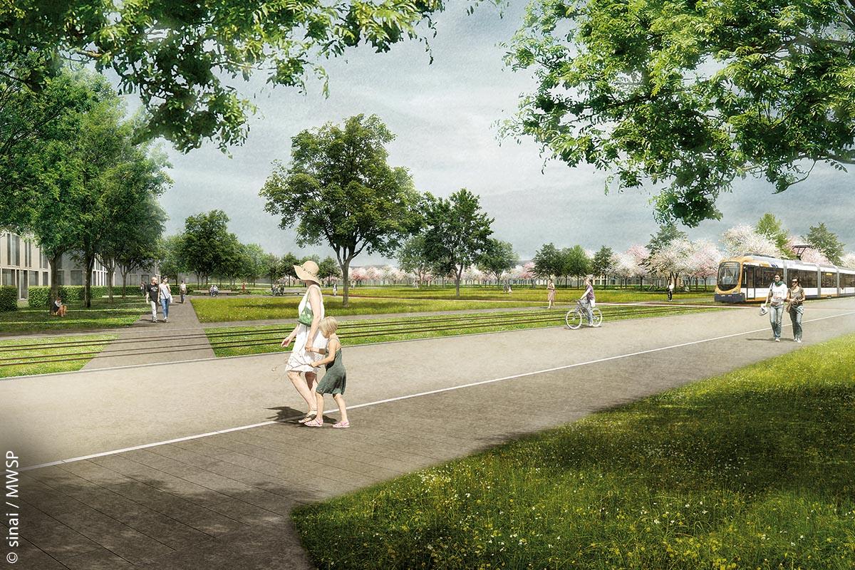 In Planung ist auch eine neue Stadtbahnlinie, die die einzelnen Teile des Quartiers miteinander verbindet.