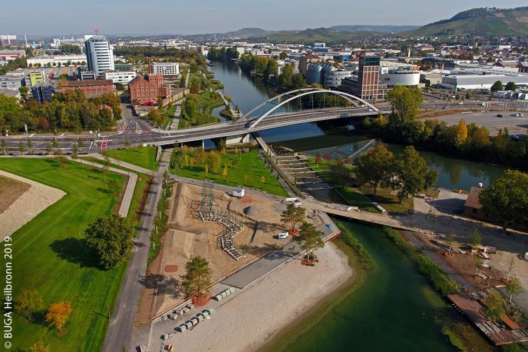 Noch ist das Heilbronner BUGA-Areal am Neckar nicht ganz fertig.