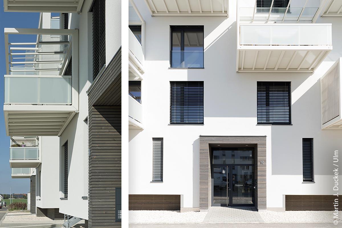 Das Ensemble im Lettenwald ist die erste fünfgeschossige Wohnanlage in Holzbauweise in der Region. Mehrgeschossige Holzbauten – besonders in den Gebäudeklassen 4 und 5 – weisen hinsichtlich ihres brandschutztechnischen Sicherheitsniveaus keine Unterschiede zu Bauten aus Stahlbeton oder Mauerwerk auf.