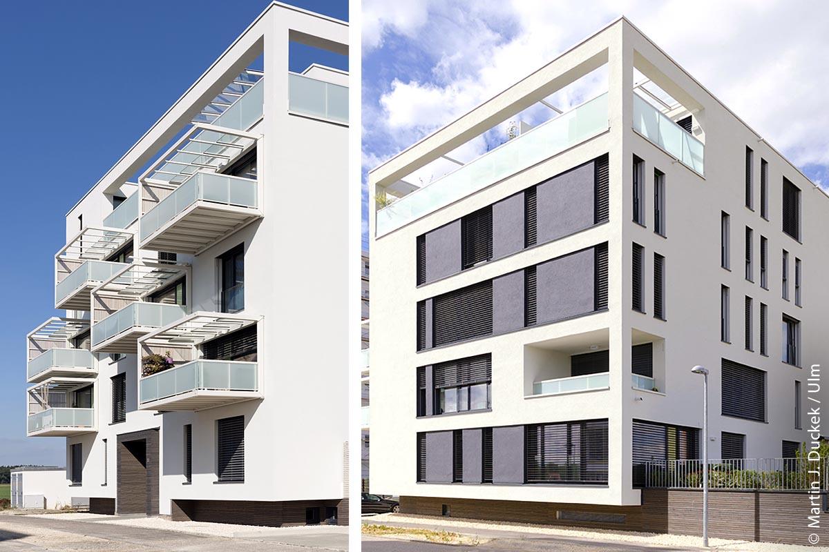 Die Anlage im Lettenwald besteht aus zwei Mehrfamilienhäusern mit unterschiedlichen Grundrissen und insgesamt 20 Wohnungen.