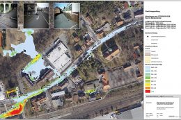 Überflutungsrisiko in der Bahnhofstraße in Röthenbach: Neben einer Oberflächenabflusssimulation zeigt das Bild Geometrie-, Bild- und Simulationsdaten des Straßennetzes.