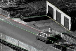 Laserscandaten von Röthenbach visualisiert mit erfassten Bestandsgeometrien
