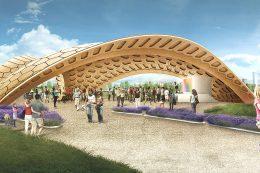 Bionische Architektur: Dieser weltweit einzigartige Holzpavillon wurde nach dem Vorbild eines Seeigels gestaltet.