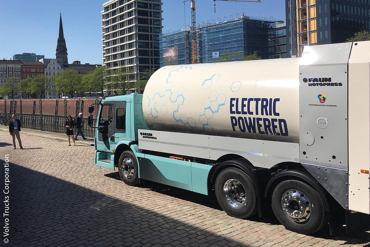 Der Volvo FE Electric Truck wird seit Ende 2018 in Hamburg im Alltagseinsatz getestet.