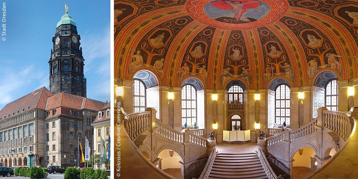 Im Neuen Rathaus am Dr.-Külz-Ring 19 haben Oberbürgermeister, zahlreiche Ämter und Einrichtungen der Landeshauptstadt Dresden sowie die Stadtratsfraktionen ihren Sitz. Rechts: Das prunkvolle Treppenhaus wurde 1910 bis 1914 von Otto Gussmann gestaltet.