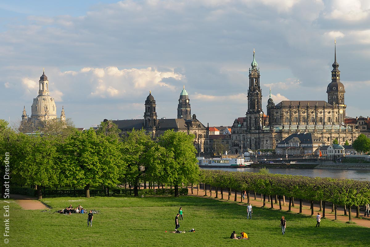 Elbwiesen mit Blick auf die Altstadt, Türme der Frauenkirche, des Ständehauses, des Rathauses (Bildmitte), der Kathedrale sowie der Hausmannsturm des Residenzschlosses.