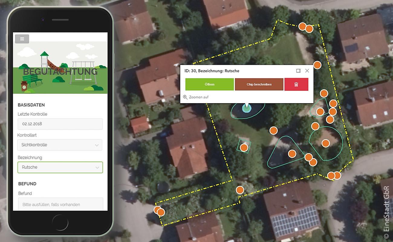 """Datenbankeintrag zum Spielgerät """"Rutsche"""" in der Smartphone-Ansicht (links) und  Übersichtskarte (rechts) mit eingeblendeten Fallflächen und Kontrollbereichen"""