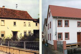 Die Obere Dorfstraße 23 in Fuchsstadt viele Jahre vor und dann nach der Sanierung 2015.