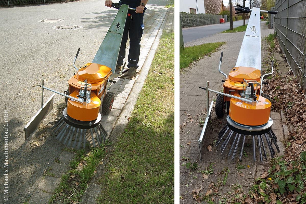 Im Einsatz ist die Wildkrautmaschine KM A 10 von Michaelis vor allem auf schmaleren Wegen bei der Pflege von Wohnanlagen, Parkflächen sowie in Pflege- und Klinikbereichen.