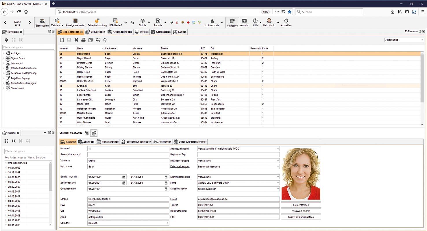 ATOSS Time Control verwaltet Mitarbeiterstammdaten mit Berücksichtigung der Änderungshistorie.