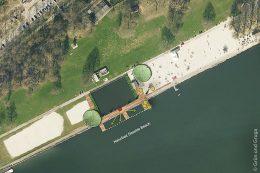 """Bearbeitete Aufsicht der geplanten Sanierung der Naturbadestelle """"Seaside Beach"""" an der Ruhr"""