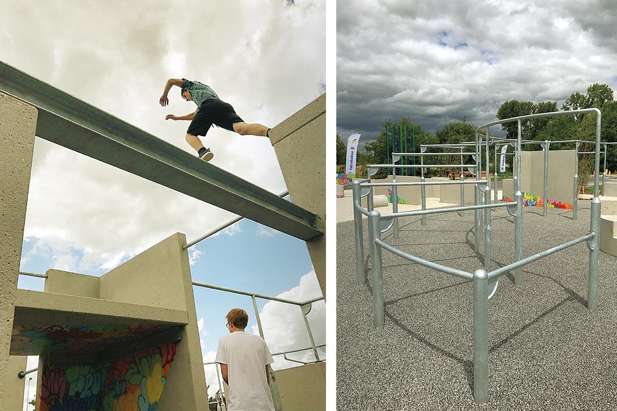 Die niedrigeren Parkour-Bereiche für die kleineren Kinder, die höheren für die mutigeren, größeren Jugendlichen.