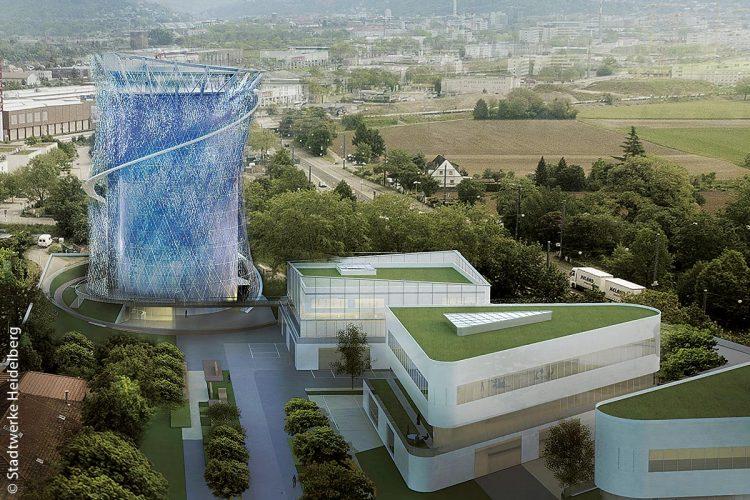 Heidelberg funktioniert derzeit einen alten Gaskessel um in einen modern gestalteten, begehbaren Fernwärme-Energiespeicher mit Aussichtsplattform. Ab 2020 soll er Fernwärme-Wasser speichern. Rund herum wird es außerdem einen Bewegungspark geben, der ein Jahr später fertig werden soll.
