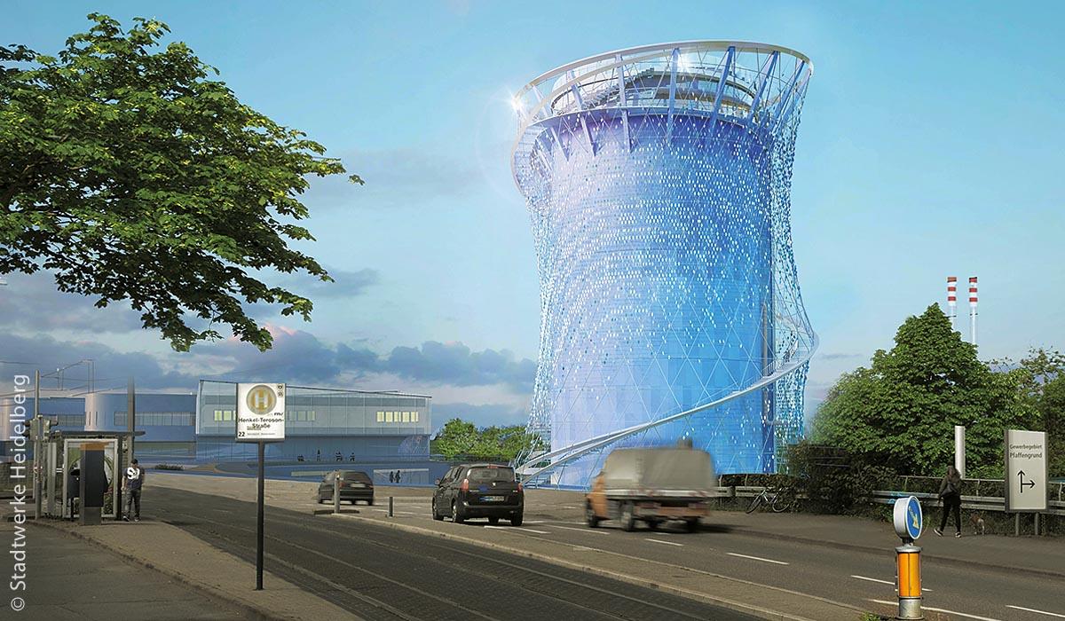 Der Heidelberger Energiespeicher wird voraussichtlich 55 Meter hoch werden und damit Heidelbergs fünfthöchstes Gebäude sein.