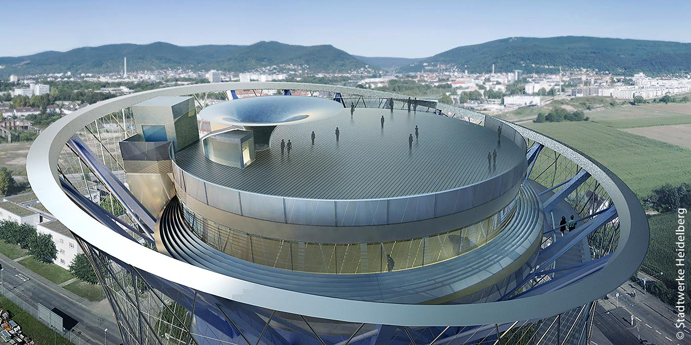 Das Dach des Heidelberger Energiespeichers soll über eine Außentreppe erreichbar sein und eine Aussichtsterrasse bekommen. Zudem werden auch zwei Aufzüge dafür sorgen, dass Besucher die Aussicht genießen können. Ein Bistro ist zudem geplant.