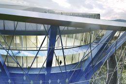 Energiespeicher Heidelberg: Detaillierte Dachansicht mit der nach oben führenden Treppe (rechts unten)