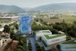 Visualisierte Panoramaansicht des Heidelberger Energiespeichers im Pfaffengrund