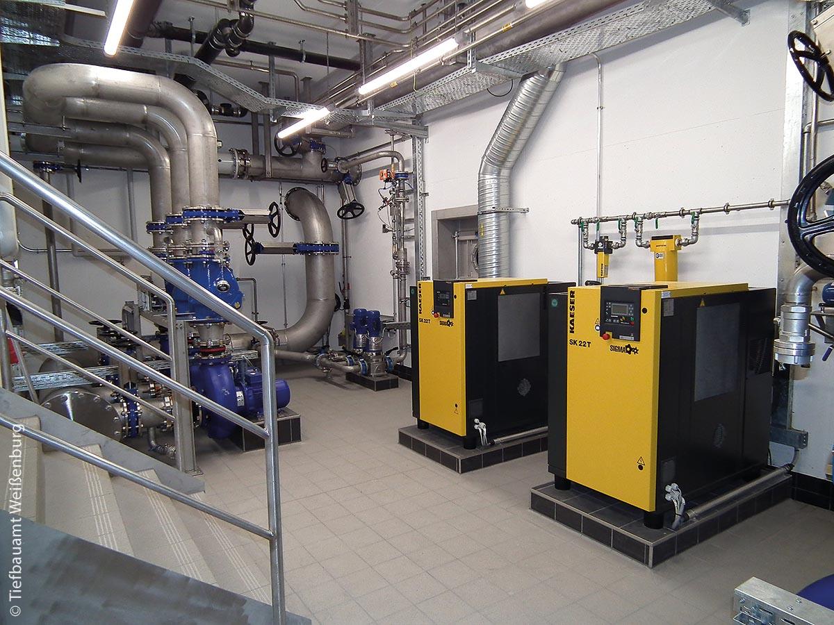 Maschinenkeller mit Zulaufpumpen (blau) und Eintragungssystem, Zugang Ozonreaktor und Kompressoren der Filteranlage