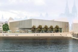 Visualisierte Ansicht des Museums von der Donau aus.