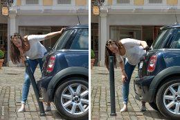 Huch! Was tun, wenn man gegen einen Poller gefahren ist? Erst mal schauen, wie groß der Schaden ist! Glück gehabt! Der Poller hat nachgegeben und am Auto ist keine Delle zu sehen. Das freut die Autofahrerin!
