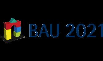 Logo der Fachmesse Bau 2021 in München, das Logo der Fachmesse besteht aus einem Haus das auf das Bauen von Bauklötzchen hinweist, daneben steht Bau 2021.
